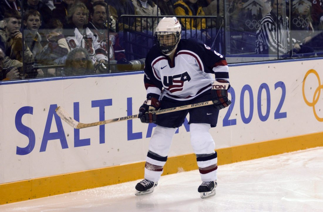 Andrea Kilbourne suited up for the United States women's hockey team at the 2002 Salt Lake City Winter Olympics, where she won a silver medal. The Saranac Lake resident was recently named the director for the newly-formed Paul Smith's College women's hockey program. (Enterprise file photo — Lou Reuter)