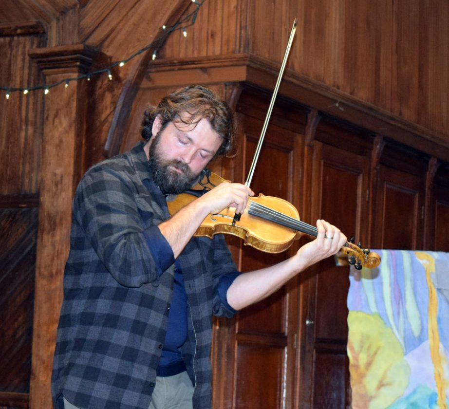 Fifth-generation fiddler Patrick Ross performs Sunday night at St. Luke's Church during First Night Saranac Lake. (Enterprise photo — Glynis Hart)
