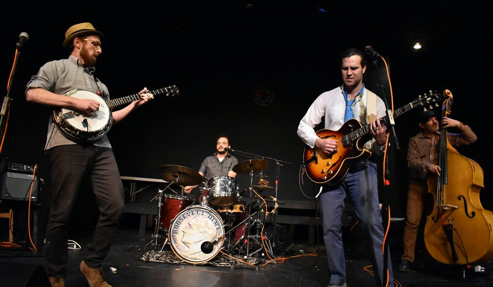 "Roosevelt Dime, the Brooklyn-based Americana band, performs songs of their new album, ""Red Shoes,"" to audiences at Pendragon Theatre Sunday night during First Night Saranac Lake. (Enterprise photo — Griffin Kelly)"
