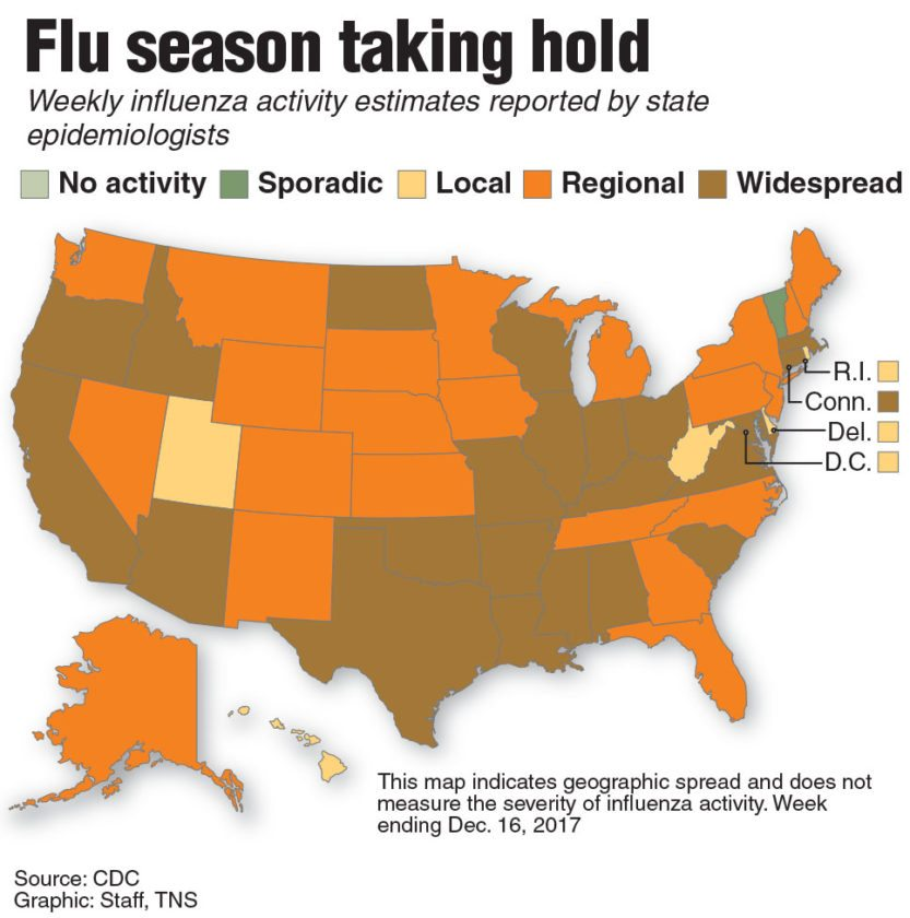 Update: U.S. map of influenza activity.
