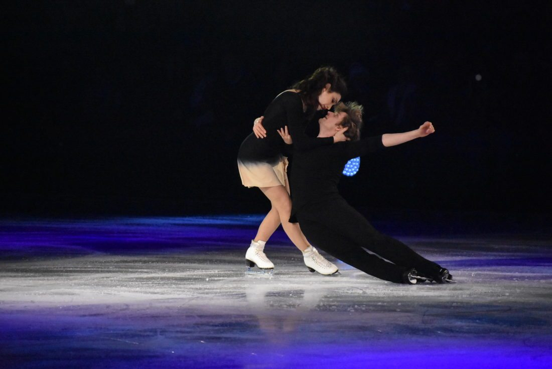 "Olympic gold medalists Meryl Davis and Charlie White skate to Samuel Barber's ""Adogio for Strings."" (Enterprise photo — Griffin Kelly)"