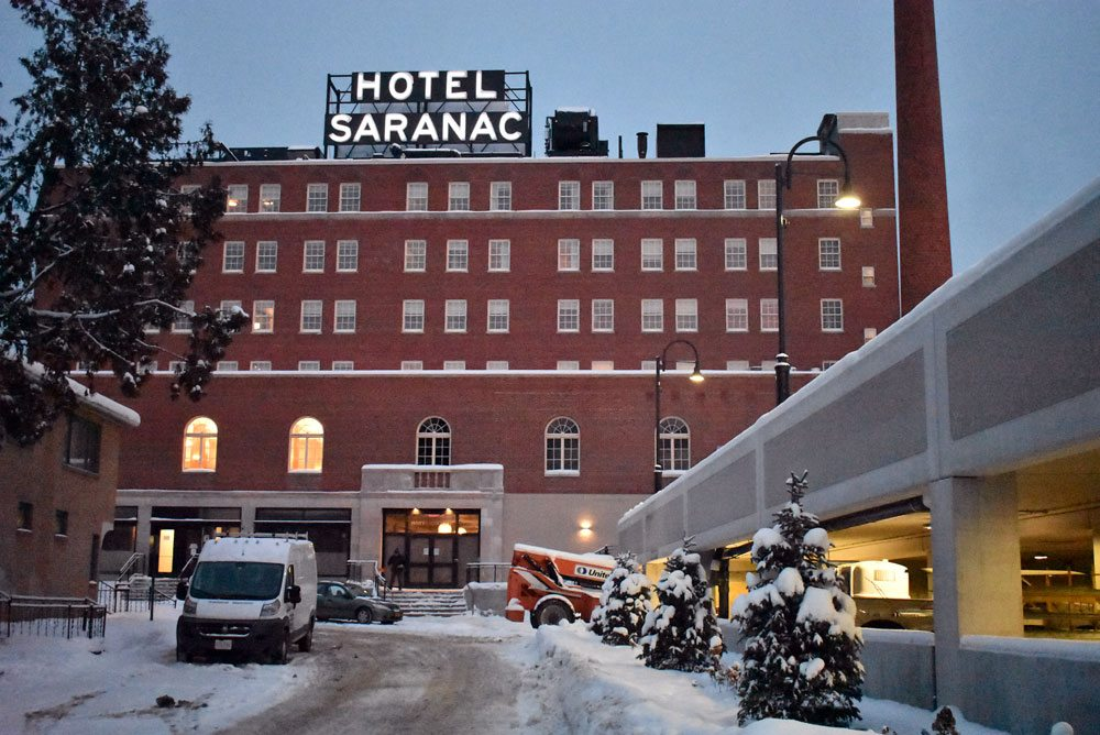 The Hotel Saranac is seen on Jan. 3 from Academy Street in Saranac Lake. (Enterprise photo — Griffin Kelly)