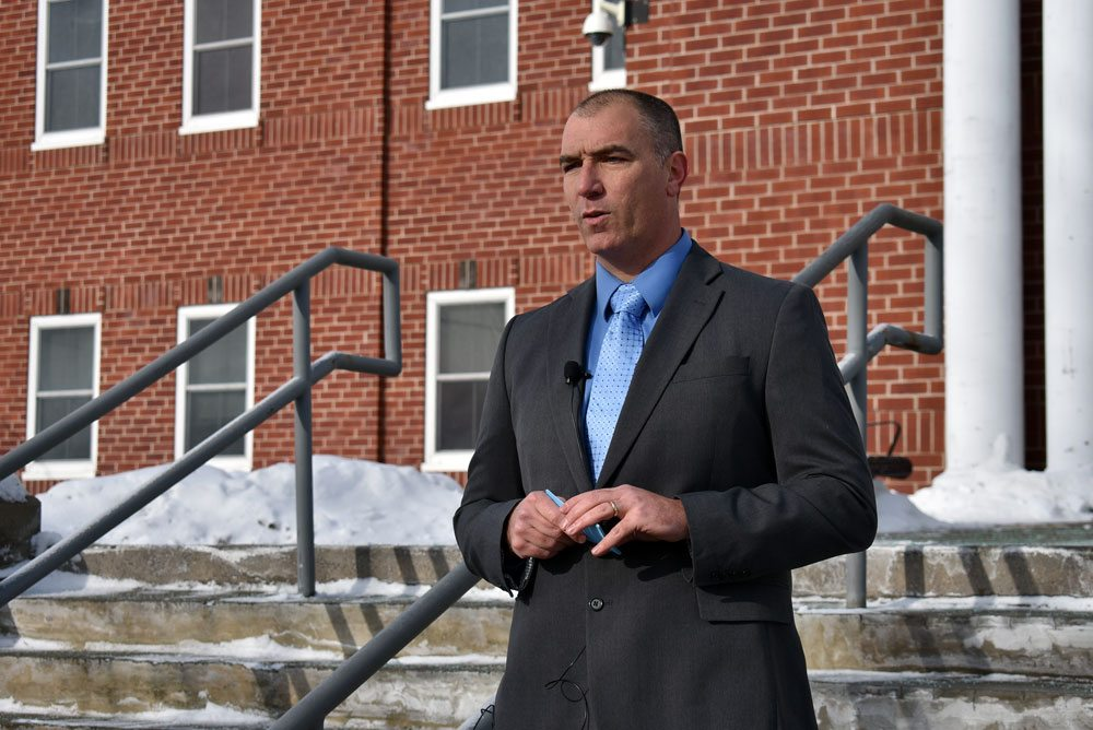 Essex County Chief Deputy David Reynolds announces his candidacy in the race for sheriff on the steps of the Essex County court house Tuesday. (Enterprise photo — Griffin Kelly)