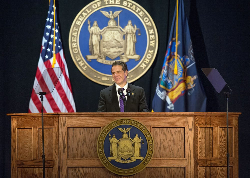 Gov. Andrew Cuomo delivers the 2018 State of the State address Wednesday at the Empire State Plaza Convention Center in Albany. (Photo provided — Philip Kamrass, governor's office)