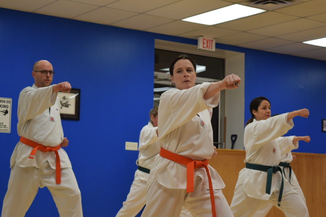 Adult students practice strikes at Northeast Taekwondo in Saranac Lake. Pictured from left, are Tim Fink, Tisha Siddell, and Lori Moore.  (Enterprise photo —Glynis Hart)