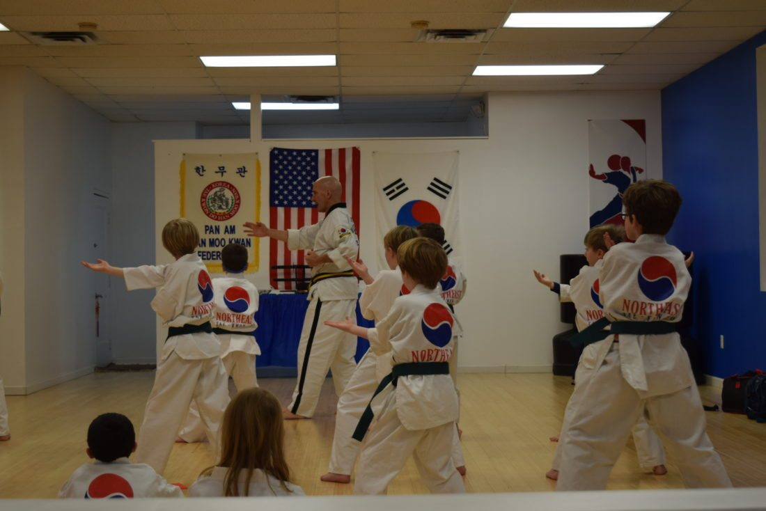 Youngsters learn self-control and confidence along with listening skills at Northeast Taekwondo in Saranac Lake. (Enterprise photo — Glynis Hart)