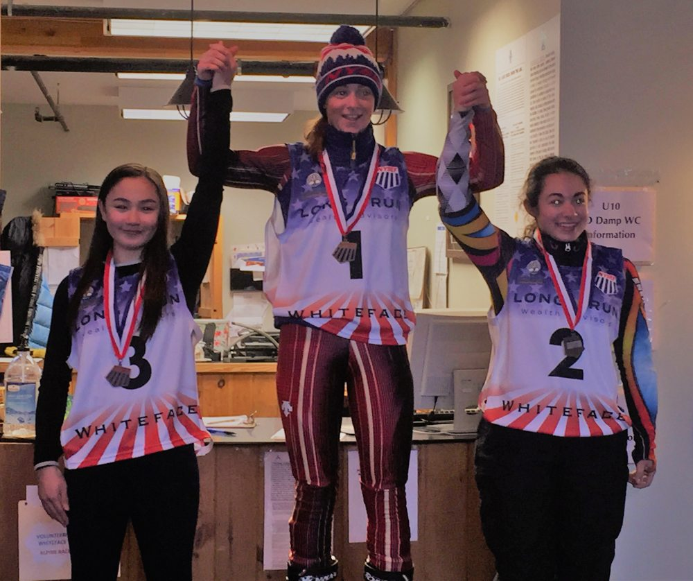 NYSEF athlete Norah Dempsey, of Saratoga Springs, stands atop the podium after winning the New Year's Giant Slalom at Whiteface Mountain on Jan. 2. (Provided photo)