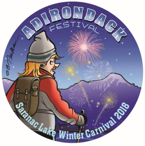 The 2018 Winter Carnival button was designed by Doonebury cartoonist Garry Trudeau, who grew up in Saranac Lake.