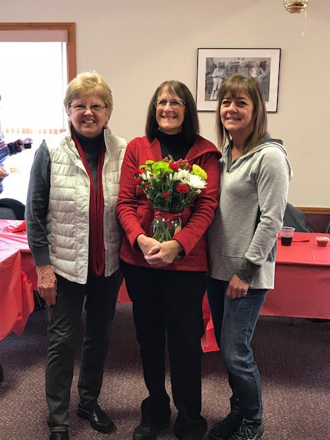 CEO Rebecca Leahy is  pictured with Shelley Brown, celebrating  35 years as a home care aide and Jayda Amell-Strader, home care aide. (Photo provided)