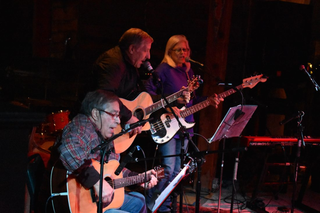 From left, Don Vicaro, Steve Fulton and Erena Fulton perform at January Jams at the Upper Jay Art Center. (Enterprise photo —Griffin Kelly)