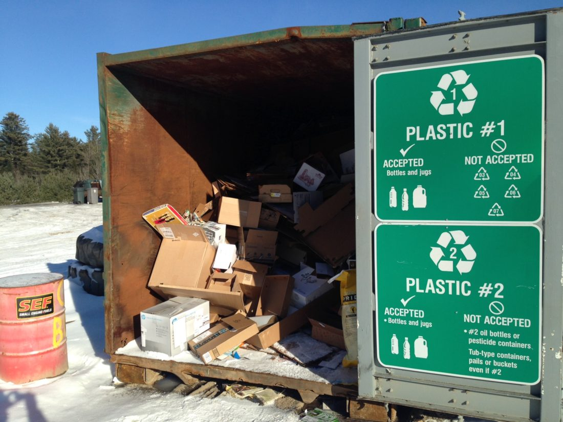 Recycling is not always separated from trash at the transfer stations. Residents are charged $10 a year for recycling.  (Enterprise photo — Bill Chaisson)