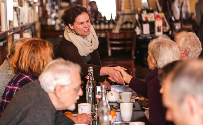 Katie Wilson, who is running for the 21st Congressional District, held a coffee meet and greet Jan. 4 at Left Bank Cafe in Saranac Lake. (Photo provided)