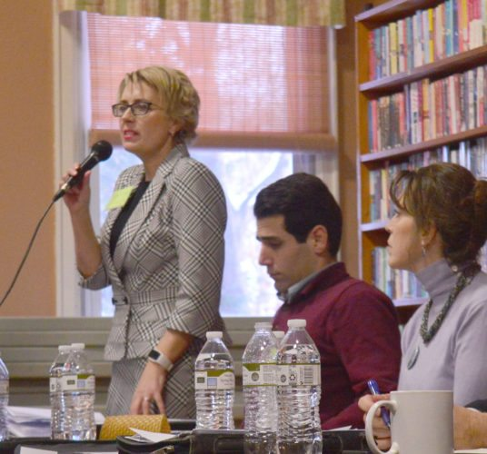 Democratic Congressional candidate Tanya Boone speaks at a forum hosted by Citizens Acting Together for District 21 on Jan. 7. Boone is one of eight Democratic candidates and has a focus on public investment, unions and jobs. (Enterprise photo — Aaron Cerbone)