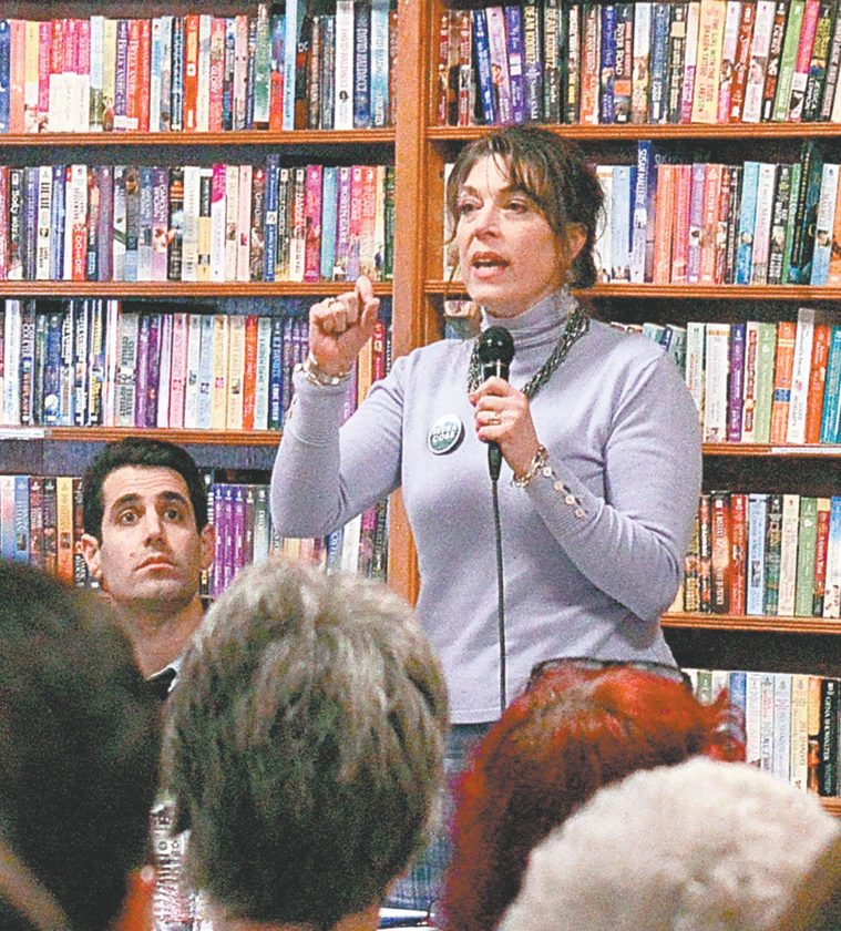 Tedra Cobb, one of eight Democratic Congressional candidates, speaks at the Citizens Acting Together for District 21 on Jan. 7. Cobb said, if elected, she would set up committees and coalitions to remain connected with constituents as she addresses the many political issues facing Congress. (Enterprise photo — Aaron Cerbone)