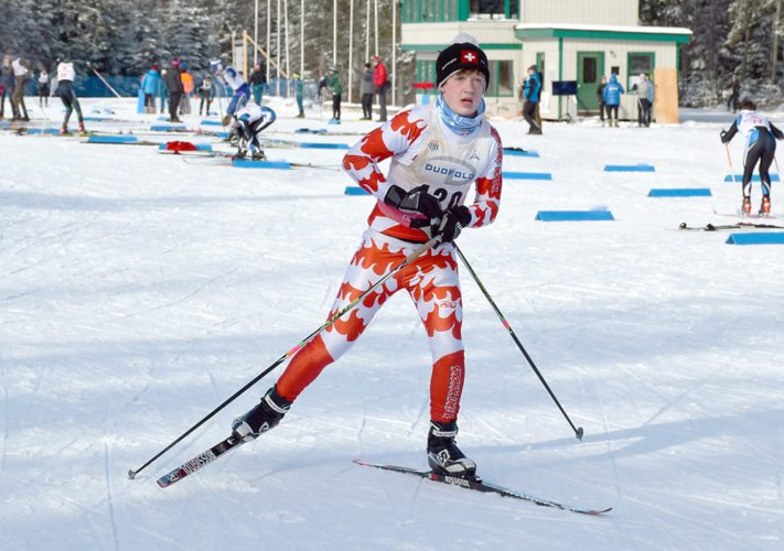 Saranac Lake skier Adrian Hayden comes out of the transition midway through Monday's skiathlon at Mount Van Hoevenberg. (Enterprise photo — Justin A. Levine)