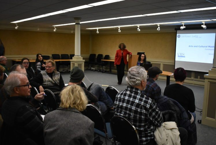 More than 80 Saranac Lake residents, artists and business owners attended AMS Planning and Research's meeting to address and make suggestions about the future of arts and culture in the village at the Saranac Lake Free Library Wednesday, Jan. 10. (Enterprise photo — Griffin Kelly)