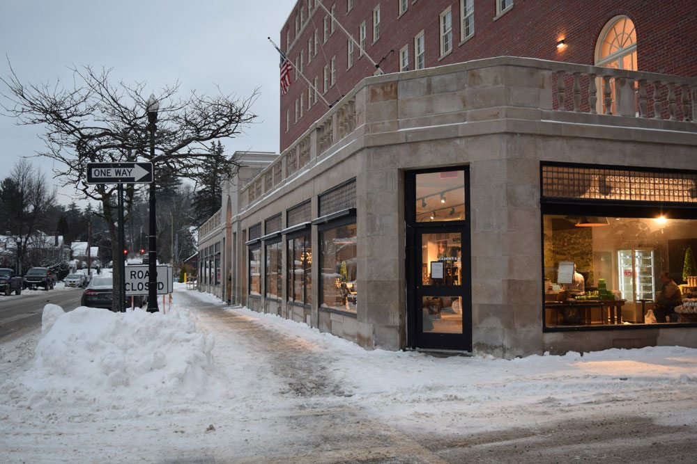 The Hotel Saranac's Academy and Main Gift Shop, on the corner of its namesake streets, is expected to open at noon Saturday.  (Enterprise photo — Glynis Hart)