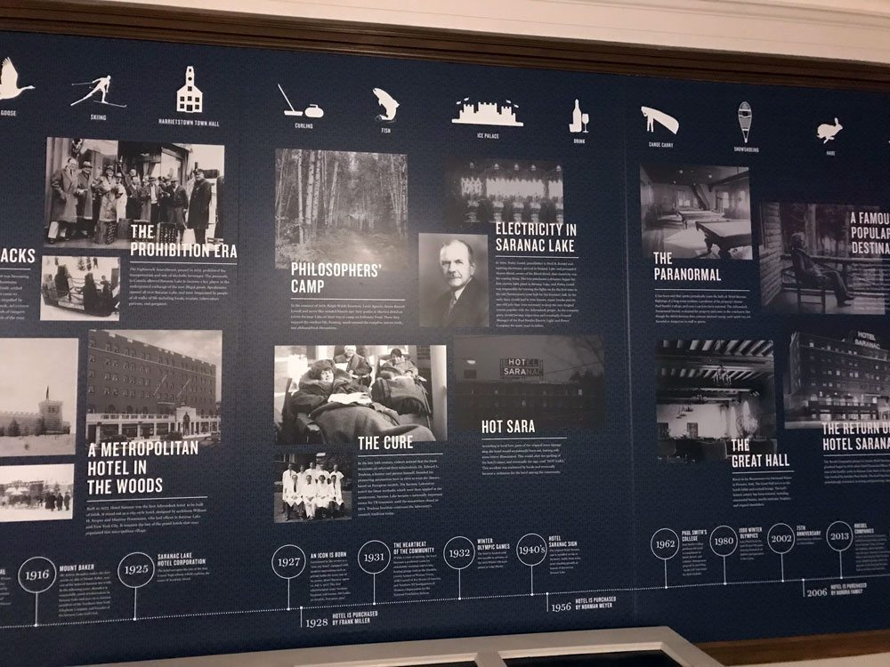 A timeline in the Hotel Saranac shows its history along with that of the village of Saranac Lake. (Enterprise photo — Catherine Moore)