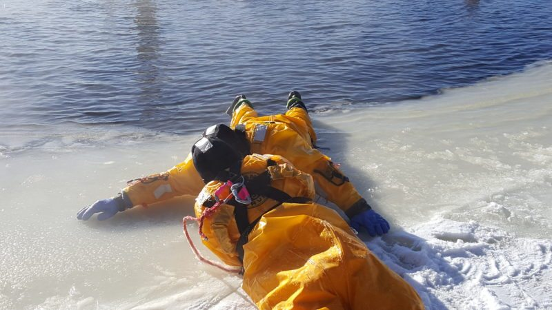 The Saranac Lake Volunteer Fire Department and other departments practice ice rescue training. (Photo courtesy of Brendan Keough, Saranac Lake Volunteer Fire Department)