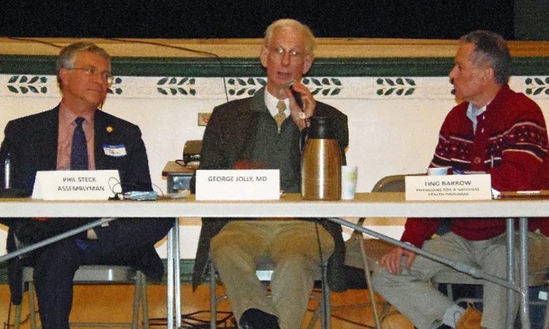 From left, state Assemblyman Phil steck, Dr. George Jolly and Ting Barrow are the panelists in a forum on the proposed New York Health Act Thursday at the Harrietstown Town Hall. (Photo provided by Jim Abendroth)