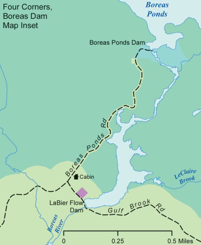 While the northern portion of the Boreas Ponds tract would be wilderness and the southern part would be wild forest, where mechanized uses are allowed, a narrow wild forest corridor would be created along an existing road so people could drive most of the mile from LaBier Flow Dam to Boreas Ponds, according to a classification plan recommended by Adirondack Park Agency staff. Also, a primitive area would be established around the Boreas Ponds Dam.