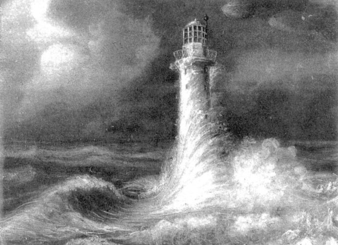 The Bell Rock Lighthouse, built by Robert Louis Stevenson's grandfather, is pictured. This painting, by A. Macdonald in 1820, was later presented to Alison Cunningham, RLS's nurse. The rock on which the lighthouse is built had caused hundreds of shipwrecks even though a warning bell was fixed on it. This rock being tidal, work on it could only be intermittent and all the stonework was prefabricated on the mainland at Arbroath.