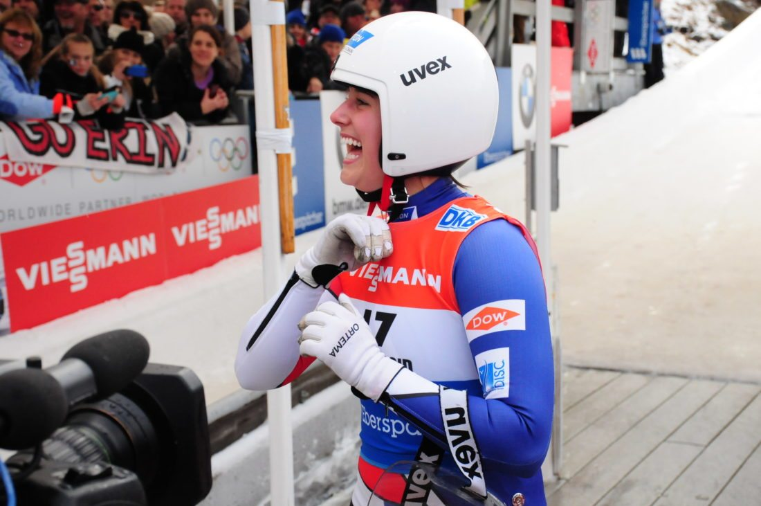 Emily Sweeney, who lives in LakePlacid, is greeted by fans following her run in the 2015 World Cup singles luge event at Mount Van Hoevenberg in LakePlacid. (Enterprise photo)