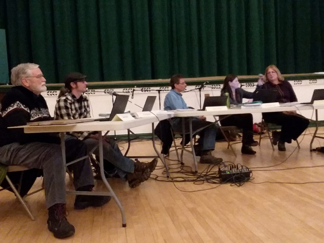 Members of the Saranac Lake Development Board meet Tuesday night in the Harrietstown Town Hall auditorium. (Enterprise photo — Glynis Hart)