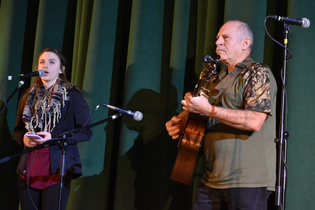 Tally Duell and her grandfather, Fred Thwaits, of AuSable Forks practice their performance Sunday for the Rotary Club of Saranac Lake Variety Show. (Enterprise photo — Griffin Kelly)