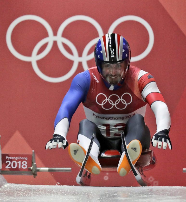 Chris Mazdzer of United States starts his first men's luge run at the 2018 Winter Olympics in Pyeongchang South Korea Saturday Feb. 10 2018