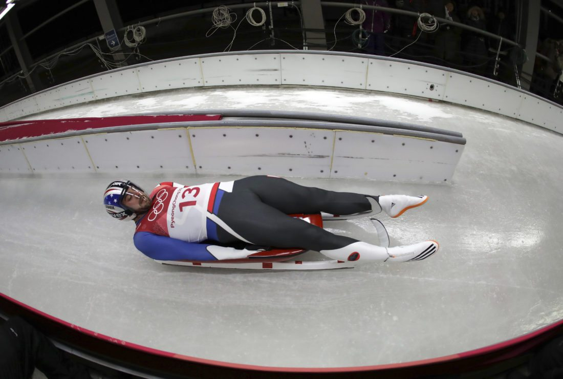 Chris Mazdzer of Saranac Lake starts his third run during final heats of the men's luge competition Sunday at the 2018 Winter Olympics in Pyeongchang, South Korea. (AP Photo/Michael Sohn)