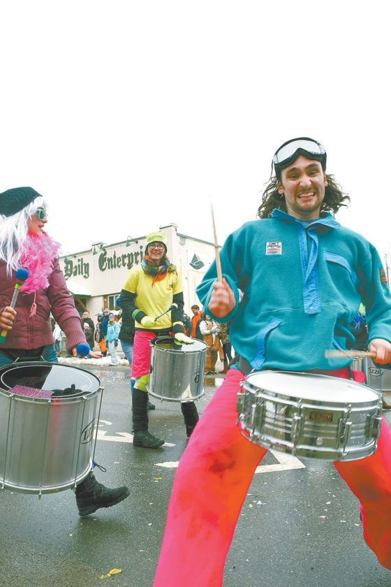 Drummers get up close with the crowd. (Enterprise photo — Glynis Hart)