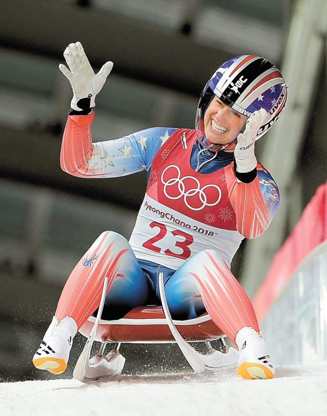 Emily Sweeney, a Lake Placid resident, brakes in the finish area after her first run Monday in Pyeongchang, South Korea.  (AP Photo/Wong Maye-E)