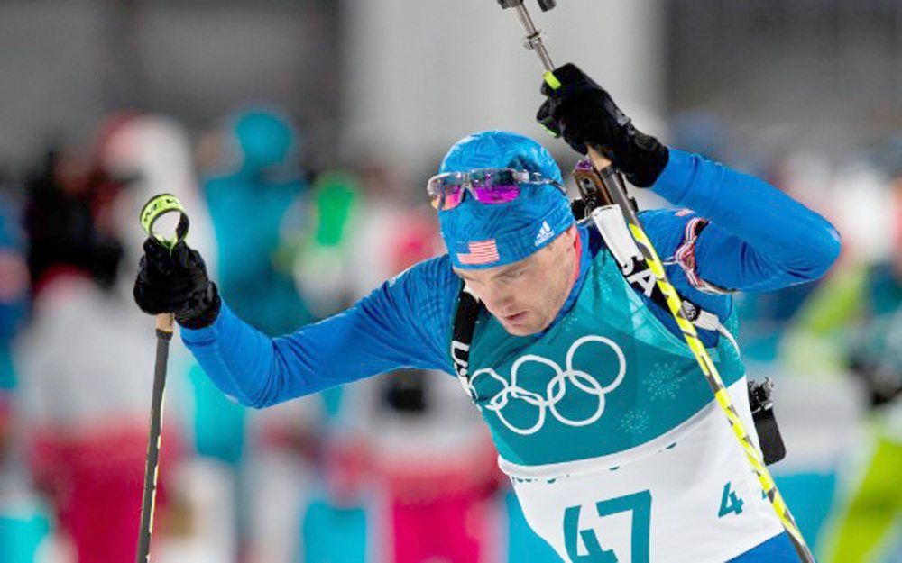 Tim Burke, of Paul Smiths, races in the 12.5-kilometer biathlon pursuit Monday at the Pyeongchang 2018 Winter Olympic Games. (Provided photo —  NordicFocus/US Biathlon)