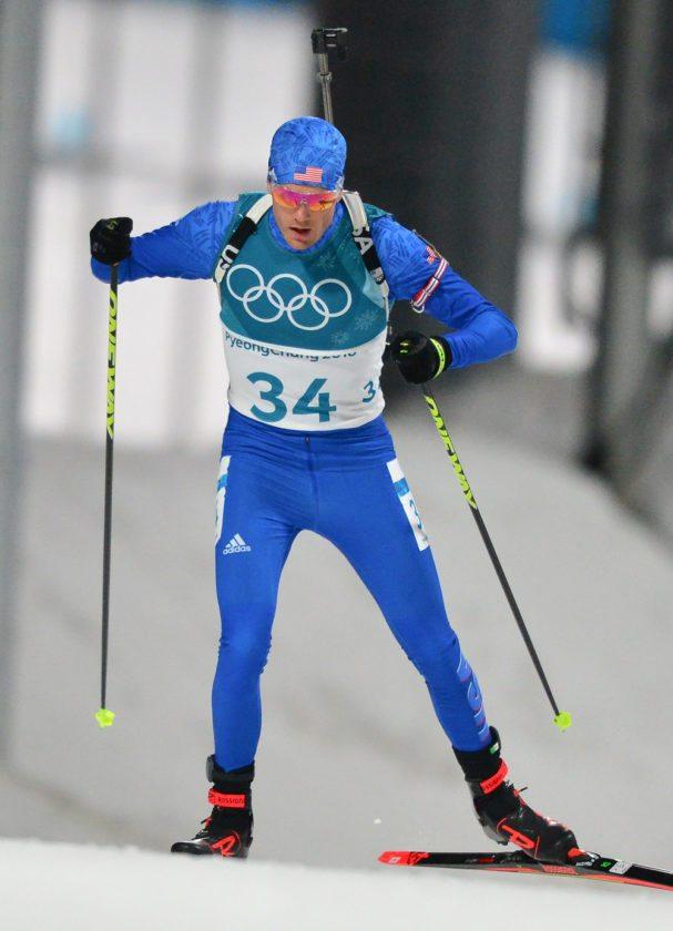 Paul Smiths native Tim Burke skis in Sunday's 10-kilometer biathlon sprint in Pyeongchang, South Korea. (Provided photo — Ross A. Burton/US Biathlon)