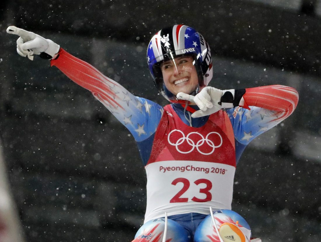 Emily Sweeney of the United States brakes after her third run during the women's luge final at the 2018 Winter Olympics in Pyeongchang, South Korea, Tuesday. She crashed in the fourth heat. (AP photo — Andy Wong)