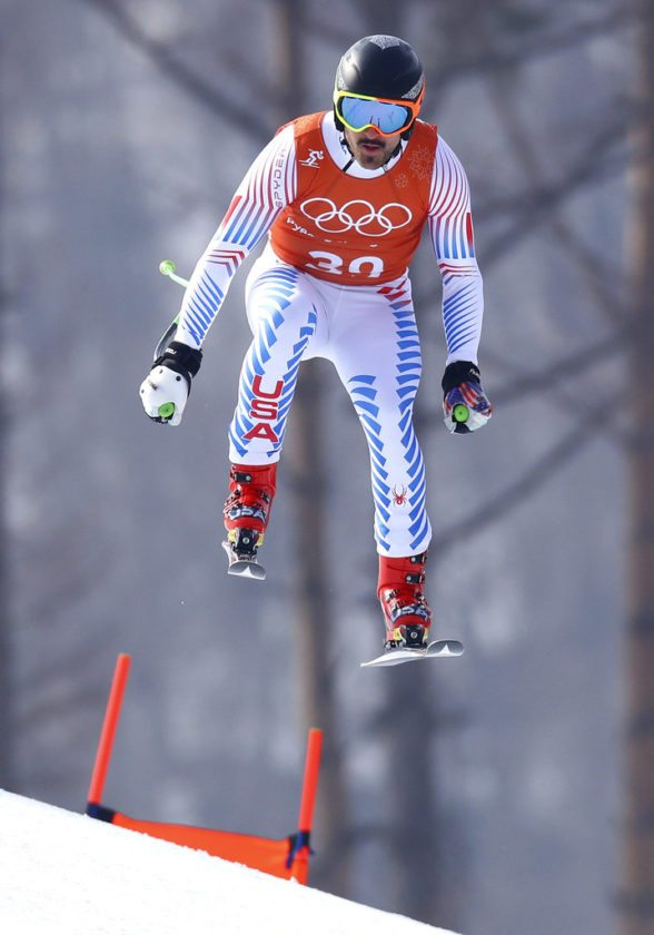 United States' Thomas Biesemeyer makes a jump during men's downhill training at the Winter Olympics in Jeongseon, South Korea, Saturday. (AP photo — Alessandro Trovati)