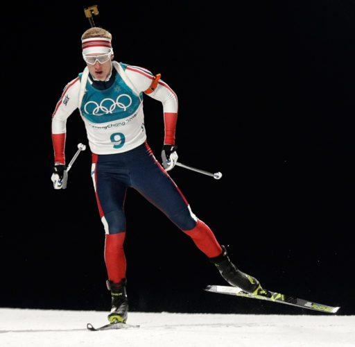 Johannes Thingnes Boe skis during the 20-kilometer individual biathlon race Thursday in Pyeongchang, South Korea. (AP photo — Gregorio Borgia)