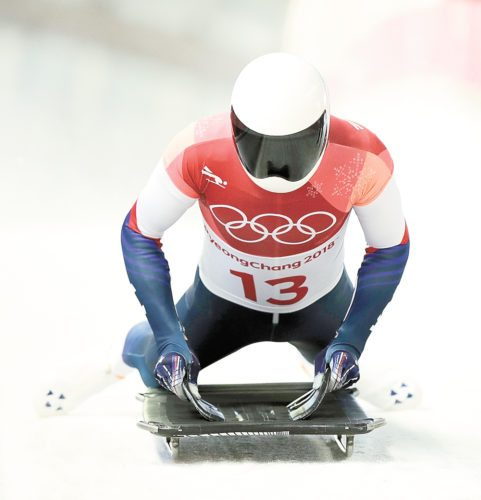 Matt Antoine brakes in the finish area after his second skeleton run in Pyeongchang, South Korea.  (AP photo — Wong Maye-E)
