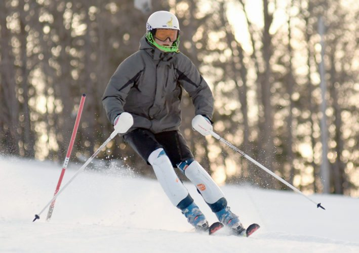 Sully Fogarty skis in the slalom on Wednesday at Mount Pisgah in Saranac Lake. (Enterprise photo — Lou Reuter)