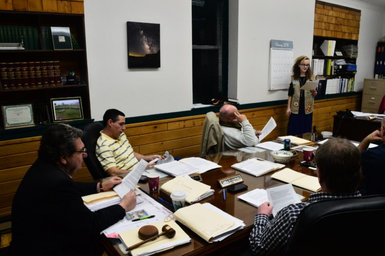 Girl Scout Marissa Moeller pitches her plan for an 8-by-8-foot checkerboard in the Tupper Lake Municipal Park to the village board Tuesday evening. Board members said they thought the plan was a great idea and will look for the best place to install it. (Enterprise photo — Aaron Cerbone)