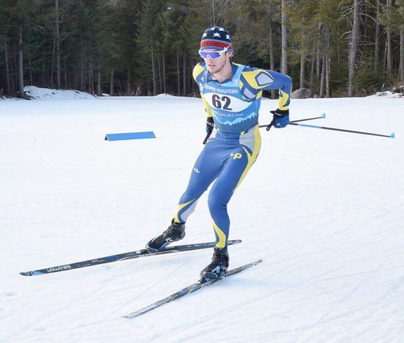Scott Schulz sails through the first lap of an 8-kilometer race Thursday at Mount Van Hoevenberg on his way to capturing the Section VII boys individual title. Schulz will be chasing a third-straight NYSPHSAA individual title later this month at Bristol Mountain. (Enterprise photo — Justin A. Levine)