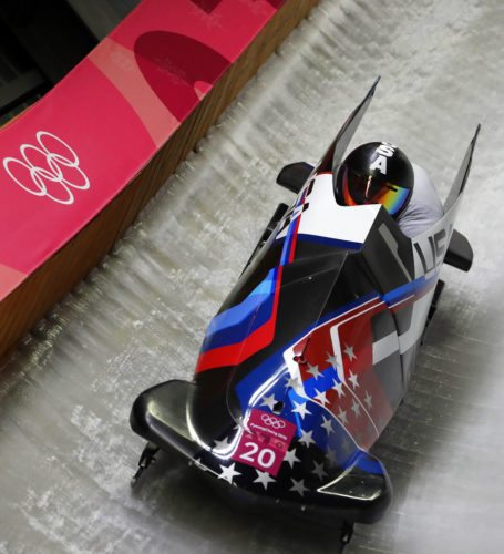 Driver Codie Bascue, of Whitehall, and Samuel McGuffie take a curve during the two-man bobsled competition Sunday in Pyeongchang, South Korea.  (AP photo - Michael Sohn)