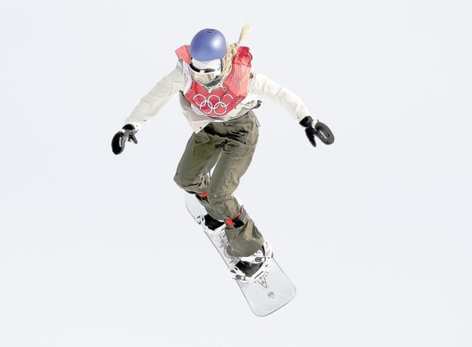 Anna Gasser jumps during qualification for the women's big air snowboard competition Monday in Pyeongchang, South Korea. (AP photo — Kirsty Wigglesworth)