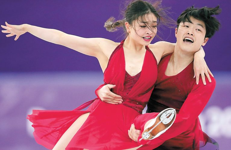 Maia Shibutani and Alex Shibutani perform during the ice dance, free dance figure skating final Tuesday in Gangneung, South Korea. (AP photo — Julie Jacobson)