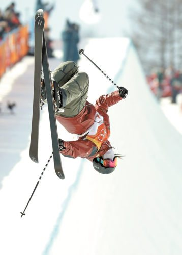 Cassie Sharpe rises above the women's halfpipe course Tuesday at Phoenix Snow Park in Pyeongchang, South Korea. (AP photo — Kin Cheung)