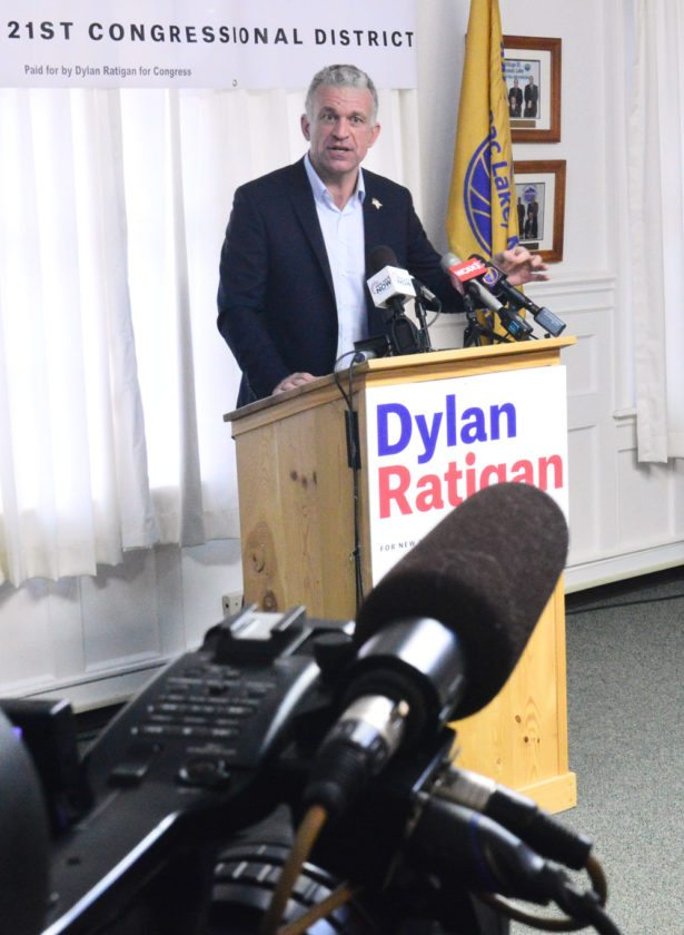 "Dylan Ratigan announces his congressional candidacy Wednesday in the Harrietstown Town Hall, Saranac Lake, promising a ""serious"" and ""fun"" campaign focused on principles rather than policies. (Enterprise photo — Aaron Cerbone)"