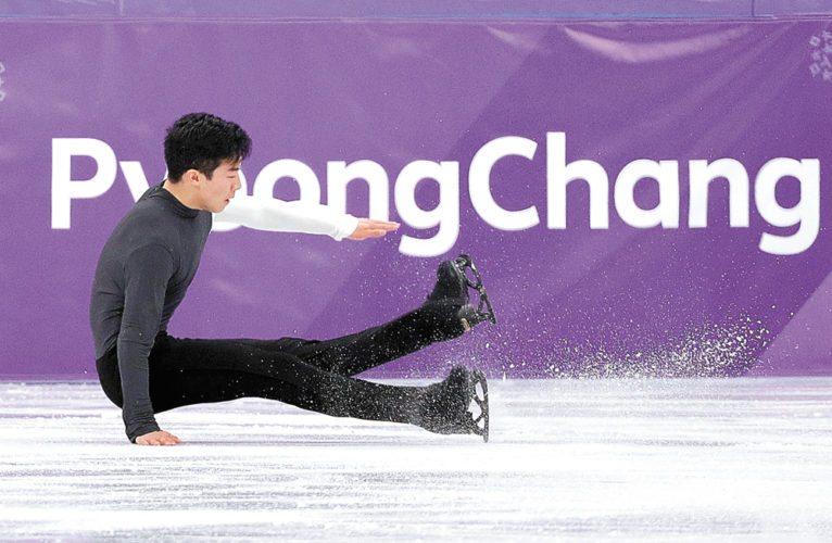 Nathan Chen falls while performing during the men's short program figure skating Friday, Feb. 16 in in Gangneung, South Korea. Chen won a bronze medal in the team event but fell short of expectations in the individual competition with a fourth-place finish. (AP photo — David J. Phillip)