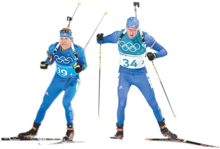 Lowell Bailey. left, and Tim Burke, ski in the 2018 Winter Olympics in Pyeongchang, South Korea. (AP photos)