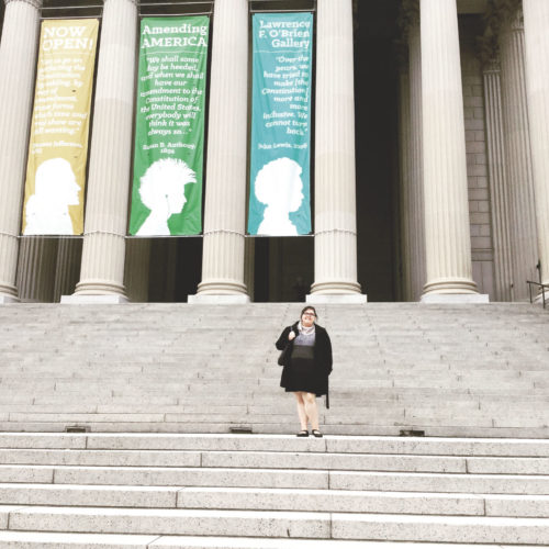 PHOTO SUBMITTED This undated photo shows Amanda Davidson outside the National Archives and Records Administration building in Washington, D.C.